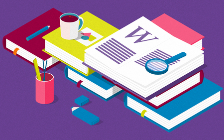 Isometric books. Creative concept for writing or blogging, school education, for web page, banner, social media, documents, posters. Illustration for news, copywriting, seminars, tutorial Stockfoto
