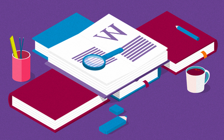 Isometric library creative concept for writing or blogging, school education, for web page, banner, social media, documents, posters. Illustration for news, copywriting, seminars, tutorial