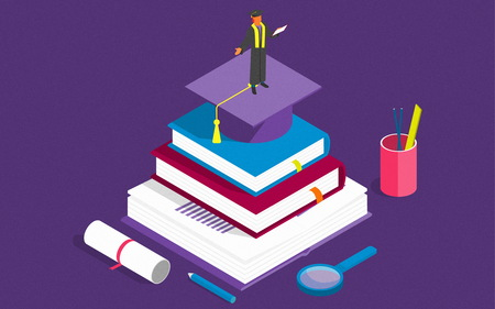 Books step education isometric concept. Illustration. can be used for workflow layout, banner, diagram, number options, step up options, web design.