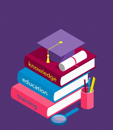 Creative isometric education success, education level and staff and skill development concept. School study people, success student learn books illustration Stockfoto