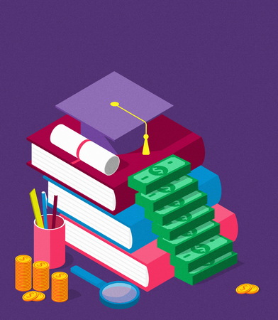 invest in education isometric concept in flat style - stack of coins and book with university hat