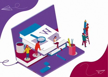 Isometric concept with books and characters for learning or teaching, education and content for web page, banner, social media, documents, cards, posters. Double exposure effect, laptop as background. Stockfoto