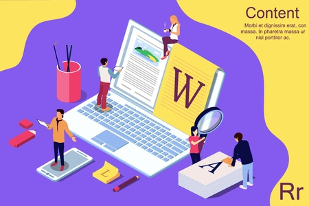 Isometric concept creative writing or blogging, education and content management for web page, banner, social media, documents, cards, posters. Vector illustration for news, copywriting, seminars, tutorial presenttation.