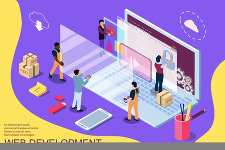 Web development design concept with character and text place. Can use for web banner, infographics, hero images. Flat isometric vector illustration