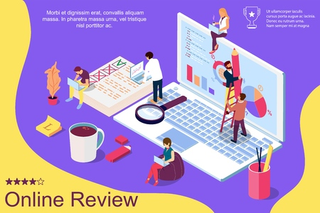 Online review concept with characters. Can use for web page, banner, social media, documents, cards, posters. Flat isometric vector illustration