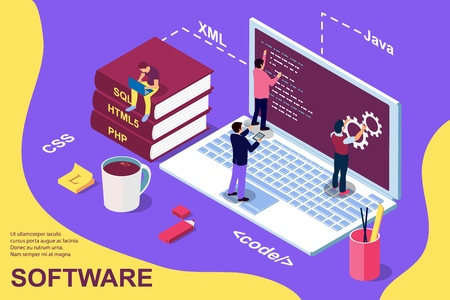Web Development concept, programming and coding. Laptop with people. Isometric vector illustration for web page, banner, social media, documents, cards, posters. Stock Illustratie