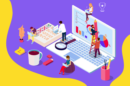 Online review concept with characters. Can use for web page, banner, social media, documents, cards, posters. Flat isometric illustration Stock Photo