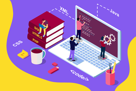 Web Development concept, programming and coding. Laptop with people. Isometric illustration for web page, banner, social media, documents, cards, posters.