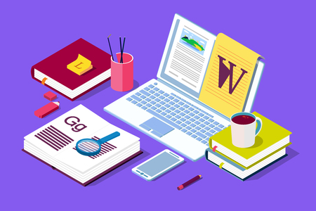 Isometric Concept for Blog, Blogging concept, post, content strategy, social media, chatting. Illustration for web page, social media, documents, cards, posters. Stockfoto
