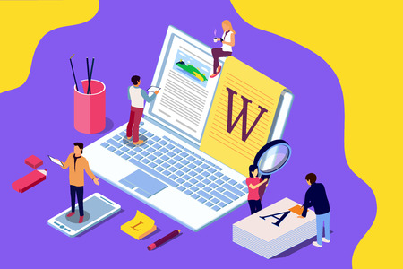 Isometric concept creative writing or blogging, education and content management for web page, banner, social media, documents, cards, posters. Illustration for news, copywriting, seminars, tutorial presenttation. Stock Photo