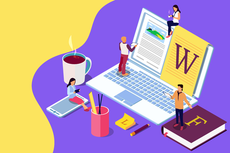 Isometric concept creative writing or blogging, education and content management for web page, banner, social media, documents, cards, posters. Illustration for news, copywriting, seminars, tutorial presenttation. Stockfoto