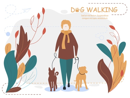 Owner and dogs walking. Cartoon vector illustration for web page, social media, documents, cards, posters.