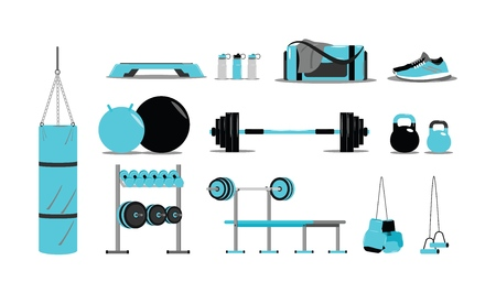 Fitness icons set with equipment. Vector illustration modern layout template flat design Stock Illustratie