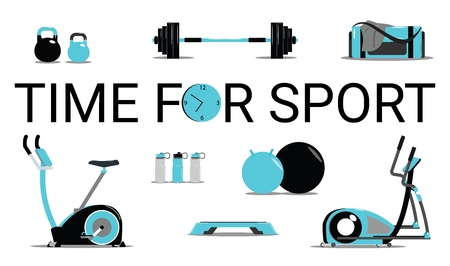 Time for sport concept.Fitness icons set flat Isolated vector illustration and modern design element Stock Illustratie