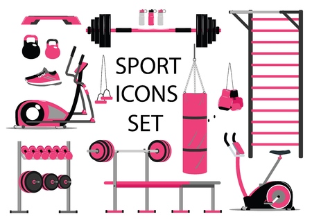 Fitness and sport icons set. Healthy lifestyle symbol. Flat style Stock Illustratie