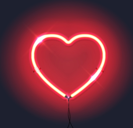 Bright neon heart.Red neon sign. Heart sign on dark background. Element for Happy Valentines Day. Ready for  greeting card, banner. Vector illustration.