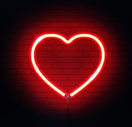 Red neon heart. Bright night neon sign on brick wall background with backlight. Retro red neon heart sign element. Romantic design for Happy Valentines Day. Vector illustration.