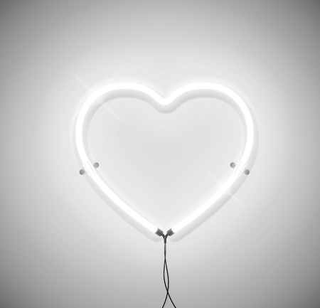White neon light heart icon on grey background. Ready for  greeting card, banner.
