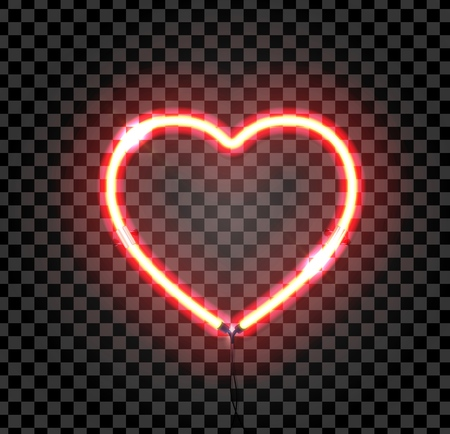 Bright neon heart. Heart sign on dark transparent background. Neon glow effect. Vector illustration.  Ready for greeting card, banner.