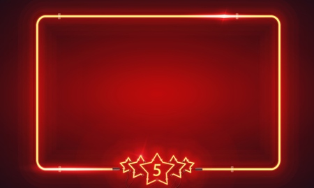 Retro neon frame with five stars and blank billboard. Vector version. On the red background