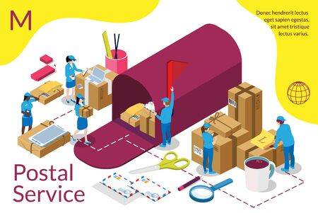 Distribution, postal service infographic. International delivery. Home delivery service and working service mind Isometric concept.