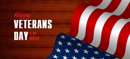 Creative illustration,poster or banner of happy veterans day with u.s.a flag and wood  background
