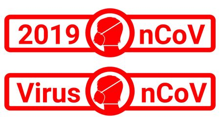 Sign caution coronavirus. nCoV 2019 Stop coronavirus. Coronavirus mask. Pandemic medical concept with dangerous cells.Vector illustration Stock Illustratie