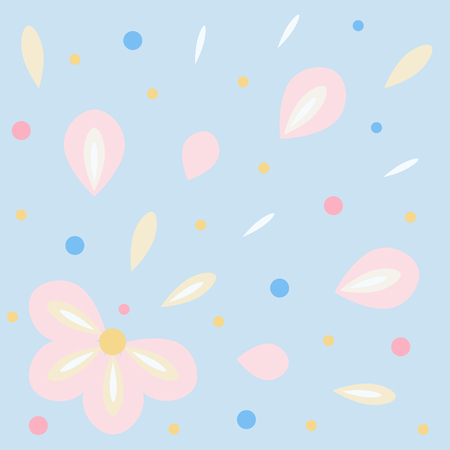 Background salute of flower petals; flying up the petals; floral explosion. Vector illustration