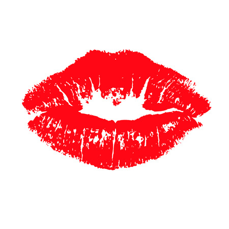 Red lips kiss lips vector lips close up white background. Vector illustration