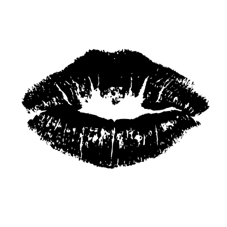 Black lips kiss lips vector lips close up white background. Vector illustration Ilustração