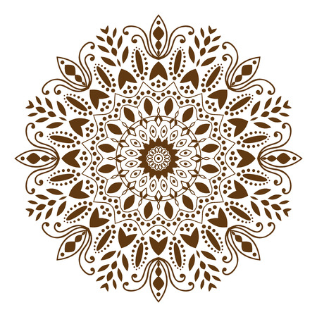 Mandala. Ethnic decorative elements, round ornament circular ornament yoga design meditation indian arabic henna asian  islam bohemian tribal religion motif. White background. Vector illustration