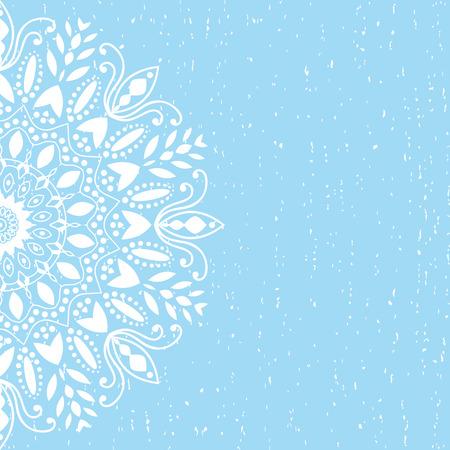 Sfondo blu mandala di vettore di chakra tibetano mandala caleidoscopio medaglione yoga india mani henné henné modello henné mehndi design arabo henné background fiore fiori disegno floreale retrò vintage Archivio Fotografico - 50380311