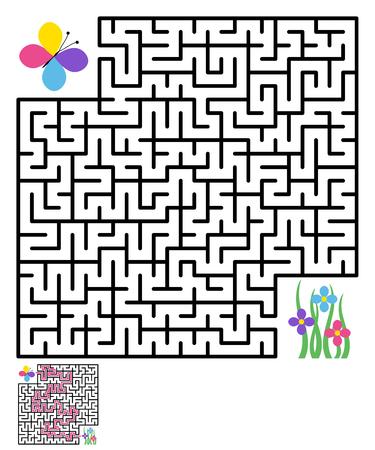 Labyrinth maze puzzle labyrinth , labyrinth maze, game maze kids maze lost, labyrinth game, flower, butterfly. illustration