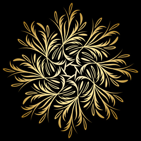 Mandala gold, tribal vintage background with a medallion. Pattern with abstract art flower for Tibetan yoga. Bohemian decorative element, indian henna design, vector retro circle ornament