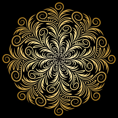 tibetan: Mandala gold, tribal vintage background with a medallion. Pattern with abstract art flower for Tibetan yoga. Bohemian decorative element, indian henna design, vector retro circle ornament