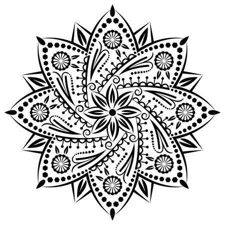 Mandala, fond tribal avec un médaillon. Motif avec fleur abstraite vintage d'art pour le yoga tibétain. élément décoratif de Bohême, la conception de henné indien, vecteur rétro ornement de cercle