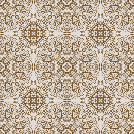 Mandala seamless pattern. Tribal style. Vintage background with round ornament, decorative indian medallion, abstract flower element. Vector design Illustration