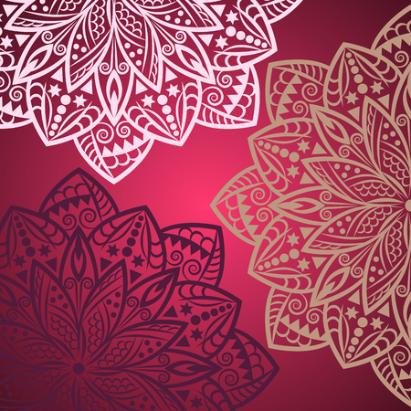 Mandala background. Bohemian style. Vintage pattern with round ornament, decorative indian medallion, abstract lotus flower element. Vector design