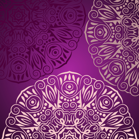 Mandala background. Bohemian style. Vintage pattern with round ornament, decorative indian medallion, abstract flower element. Vector design