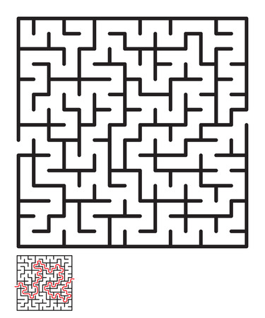 Labyrinth, maze conundrum for kids. Entry and exit. Children puzzle game. Vector illustration