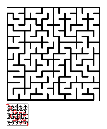 conundrum: Labyrinth, maze conundrum for kids. Entry and exit. Children puzzle game. Vector illustration