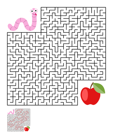 crawl: Labyrinth, maze conundrum for kids. Entry and exit. Children puzzle game. Help the worm to crawl to apple. Vector illustration Illustration