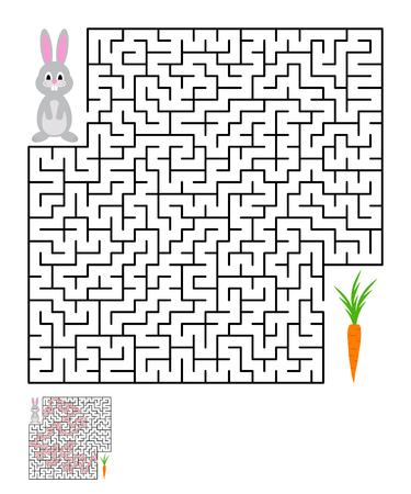 conundrum: Labyrinth, maze conundrum for kids. Entry and exit. Children puzzle game. Help the rabbit to reach the carrots. Vector illustration