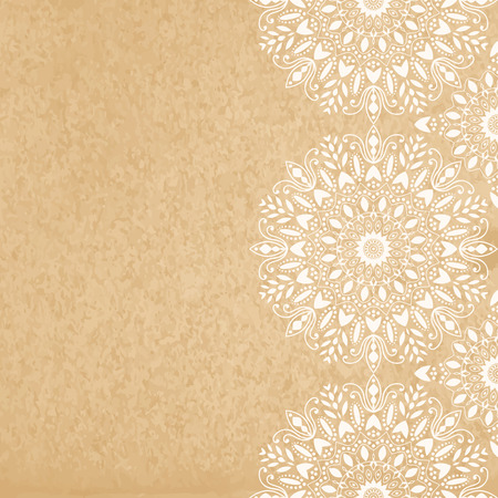 Mandala, abstract tibetan flower background. Seamless border. Indian medallion pattern. Vintage bohemian design. Vector art henna ornament Çizim