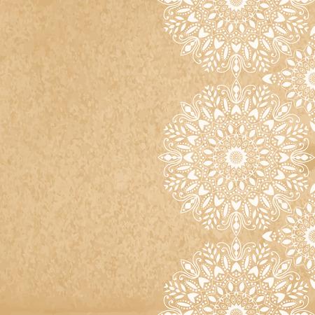 Mandala, abstract tibetan flower background. Seamless border. Indian medallion pattern. Vintage bohemian design. Vector art henna ornament Illustration
