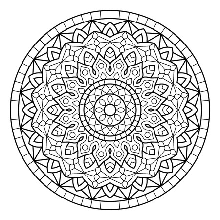 White Background Black Outline Vector Illustration Mandala Coloring Book Pages Indian Antistress Medallion Abstract Islamic Flower Arabic Henna
