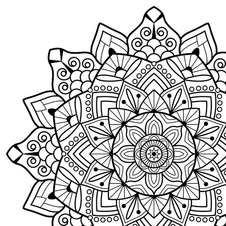 White Background Black Outline Vector Illustration Coloring Book Pages Mandala Indian Antistress Medallion Abstract Islamic Flower Arabic Henna