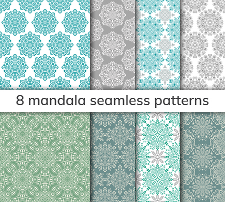 Set of 8 patterns. Collection arabic, indian, japanese, islamic motifs. Mandala seamless pattern. Ethnic bohemian background. Wrapping and scrapbook paper. Abstract flower. Vector illustration Illustration