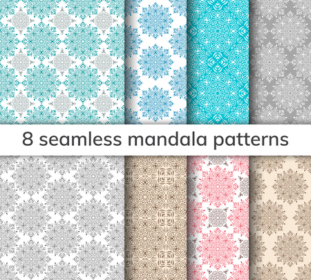 Set of 8 patterns. Collection arabic, indian, japanese, islamic motifs. Mandala seamless pattern. Ethnic bohemian background. Wrapping and scrapbook paper. Abstract flower. Vector illustration Иллюстрация