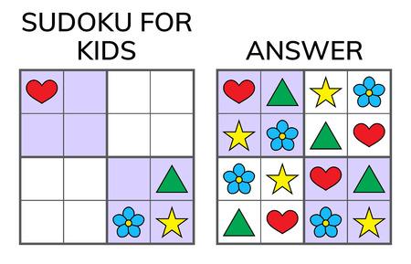 Sudoku. Kids and adult mathematical mosaic. Magic square. Logic puzzle game. Digital rebus. Vector illustration Ilustrace